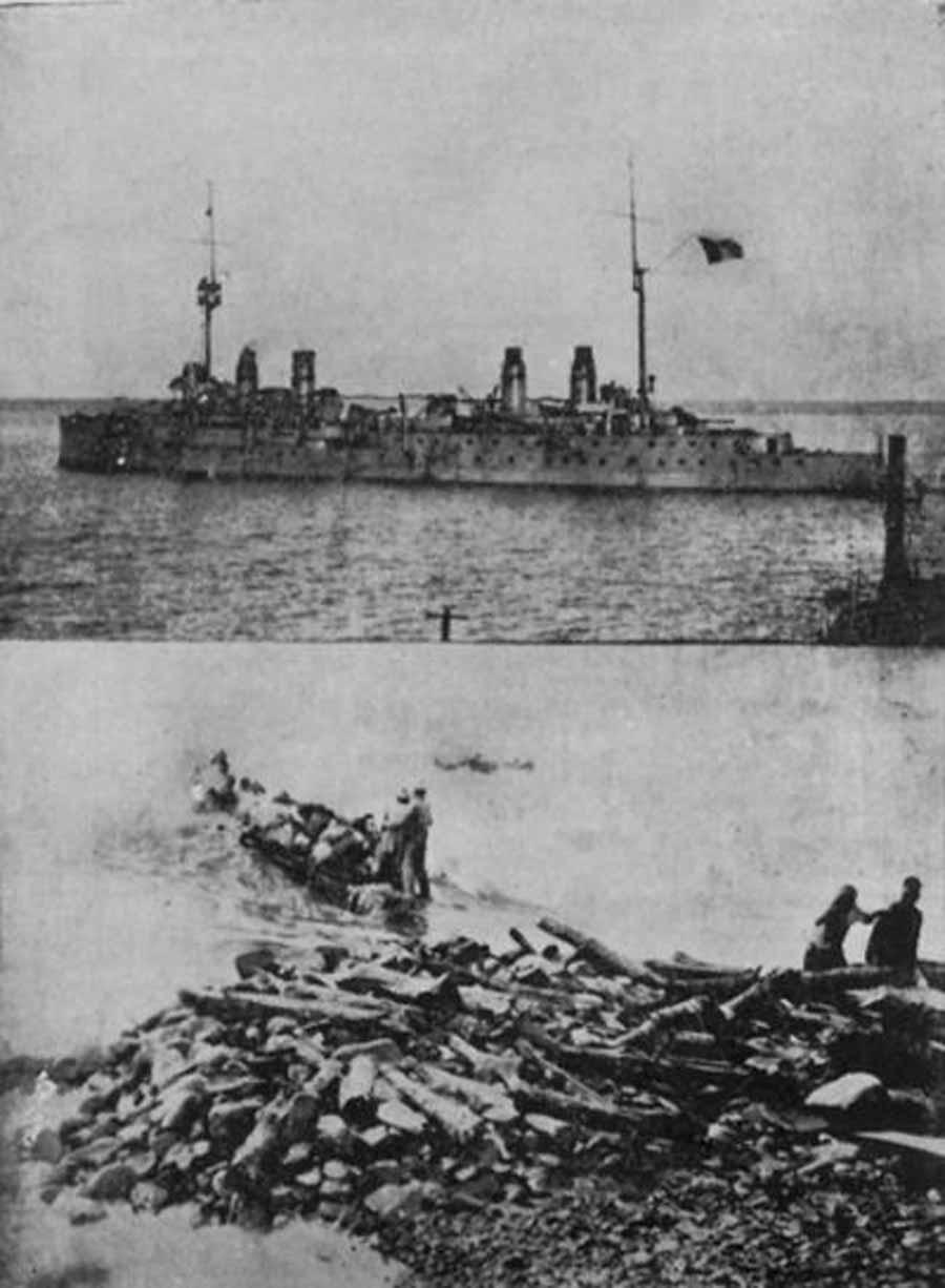 Musa Dağlıları iki günlük bir yolculuğun ardından Port Said'e götüren Fransız kruvazörlerden biri ve kıyıdan gemiye ulaşmak için kullanılan sal.