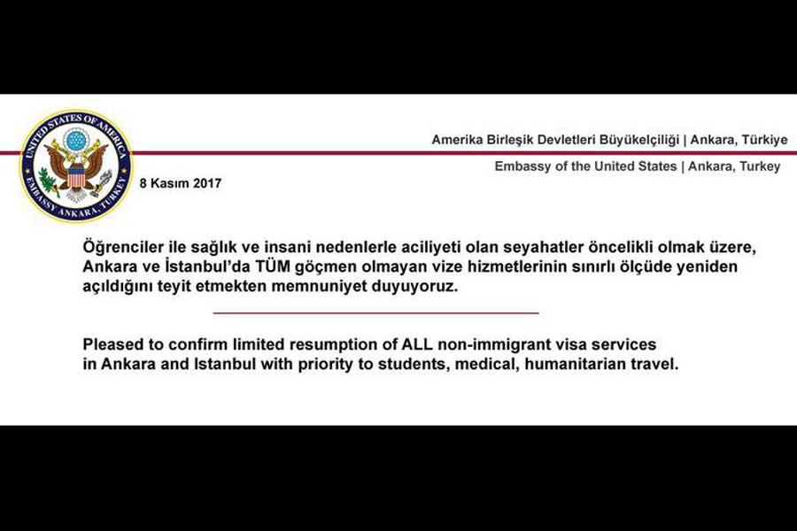 ABD Büyükelçiliği vize mesajı