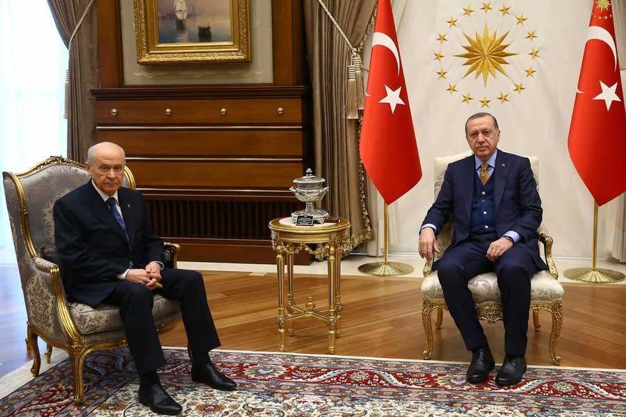Bahçeli ile Erdoğan Beştepe'de ittifakı görüştü