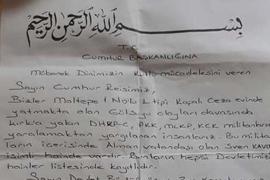 Hasan Ferit Gedik sanıkları mektubu