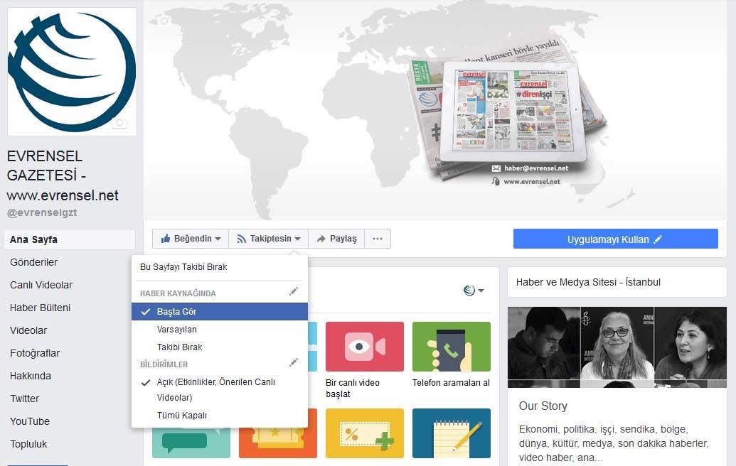 Evrensel Gazetesi Facebook Sayfası