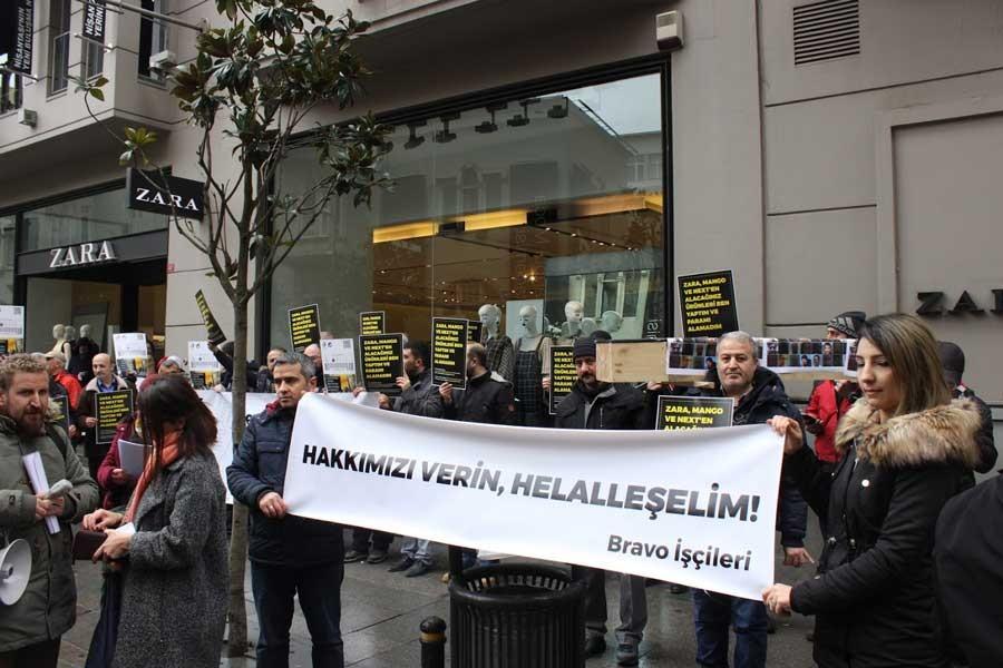 Bravo işçilerinden Zara önüne eylem: Hakkımızı verin