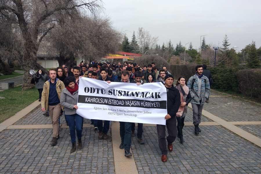 ODTÜ'de gözaltılar protesto edildi