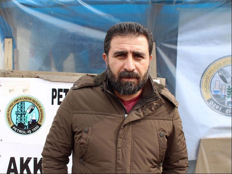 Ali Gündüz - Direnişteki Akkim işçisi (Fotoğraf: EVRENSEL)