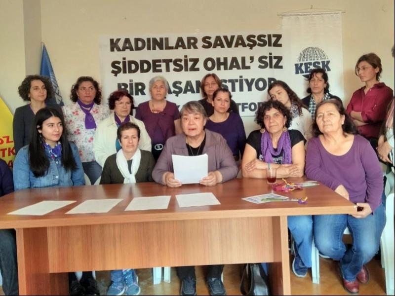 Antalya 8 Mart basın açıklaması (Fotoğraf: EVRENSEL)