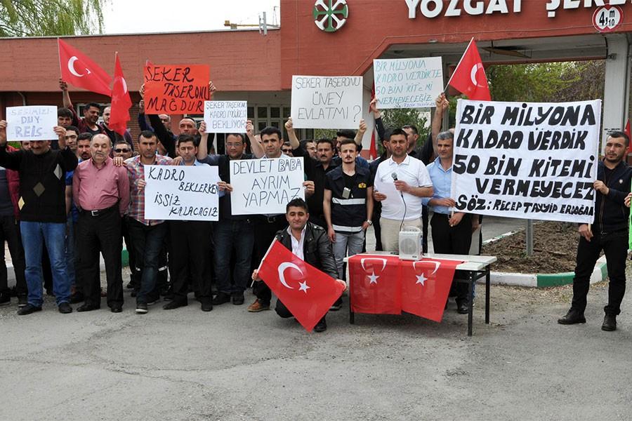 Yozgat'ta şeker fabrikası işçilerinden 'kadro' eylemi