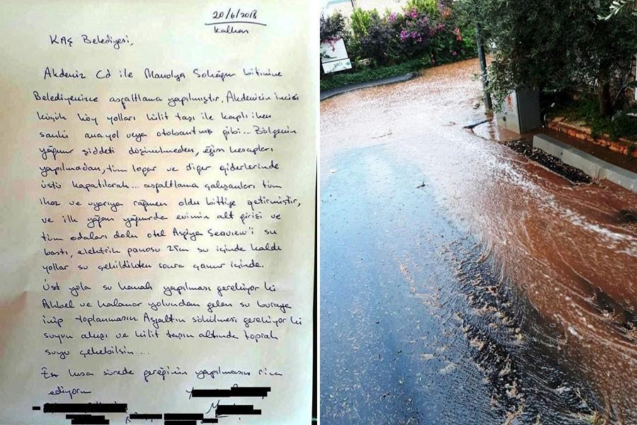 Belediye parke taşın üstüne asfalt döktü, ilk yağmurda evleri su bastı