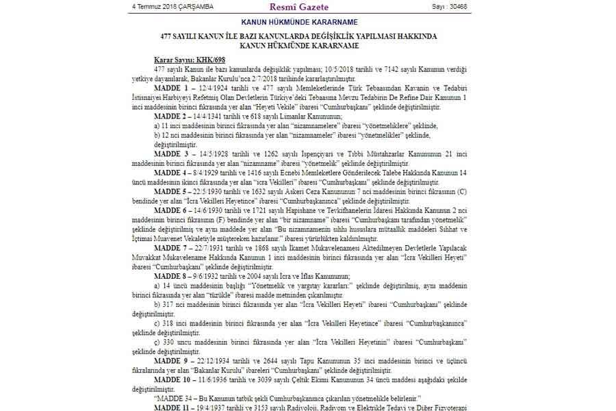 Cumhurbaşkanlığı Sistemi için çıkarılan 698 sayılı KHK'nin tam metni