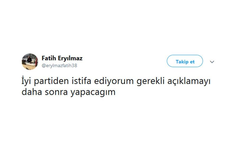 İYİ Parti kurucusu Fatih Eryılmaz istifa etti
