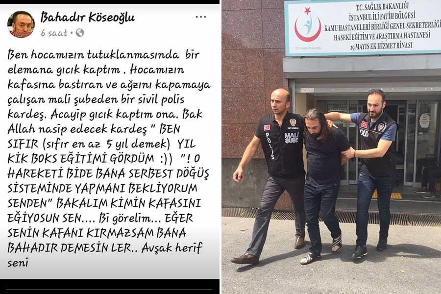 Adnan Oktar'ı gözaltına alan polise meydan okuyan şahıs tutuklandı