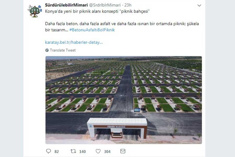 Konya'daki 'asfalt kaplı' piknik bahçesi sosyal medyanın dilinde