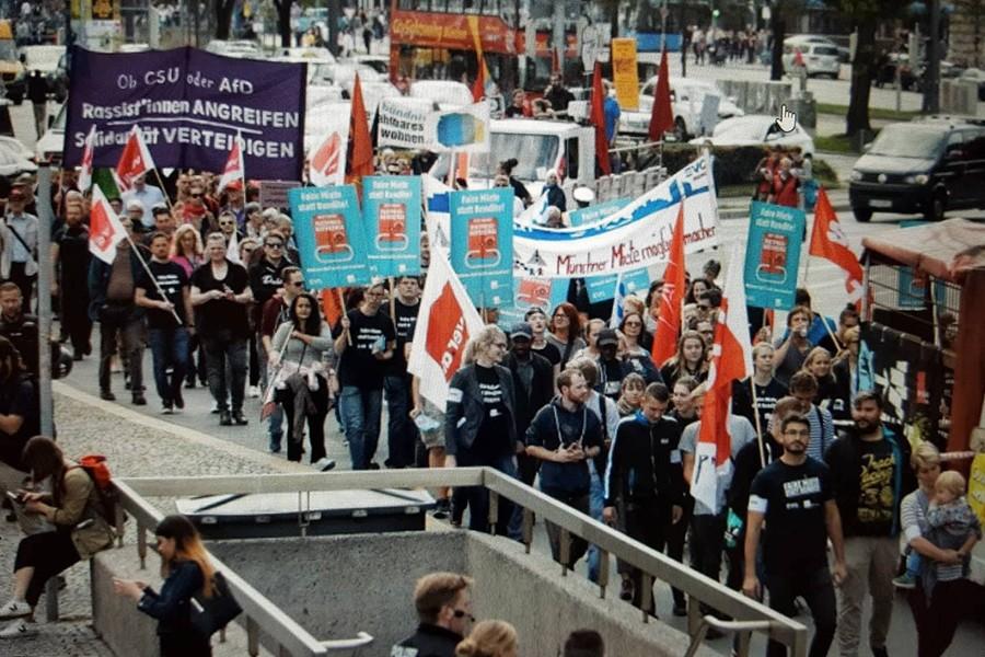 Münih'te 10 bin kişi yüksek kiralara karşı yürüdü