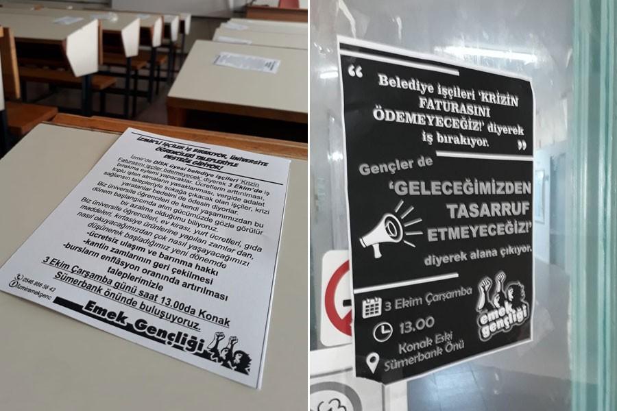 Belediye işçilerinin iş bırakma eylemine Ege Üniversitesi'nde çağrı