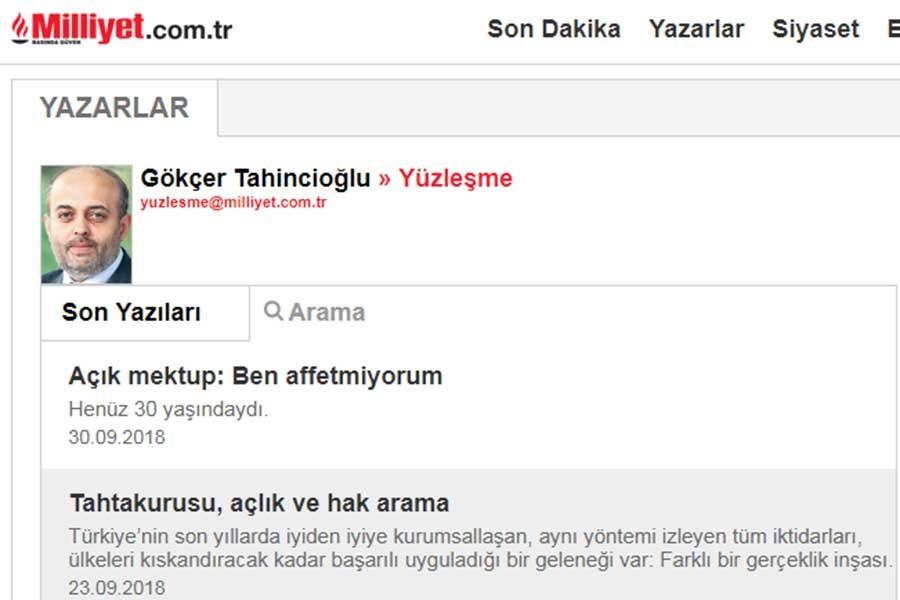 Milliyet gazetesinden Gökçer Tahincioğlu istifa etti