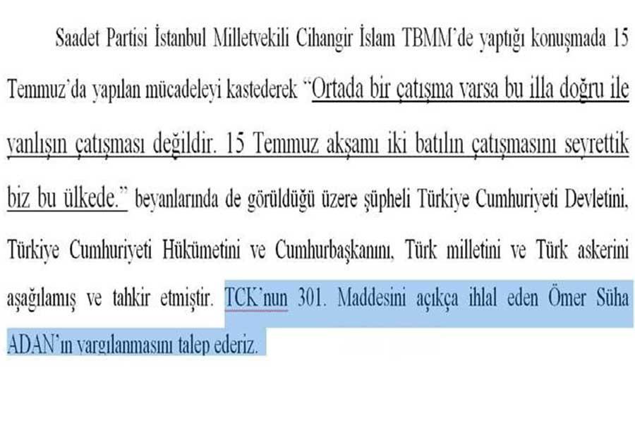 15 Temmuz Derneği, 'yanlışlıkla' CHP'li Aldan'ı da şikayet etti
