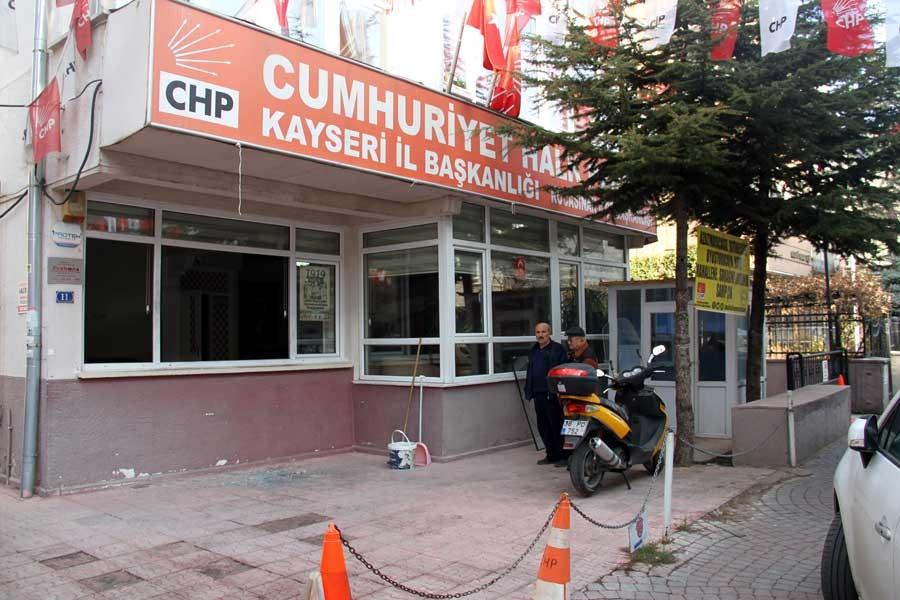 Kayseri'de CHP ilçe başkanlığına zarar veren kişi tutuklandı