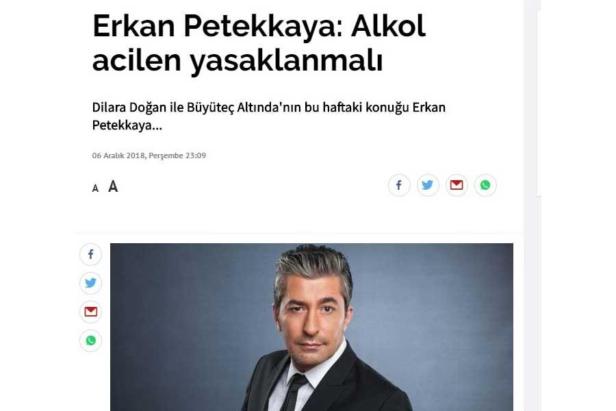 Erkan Petekkaya alkolün acilen yasaklanması gerektiğini savundu