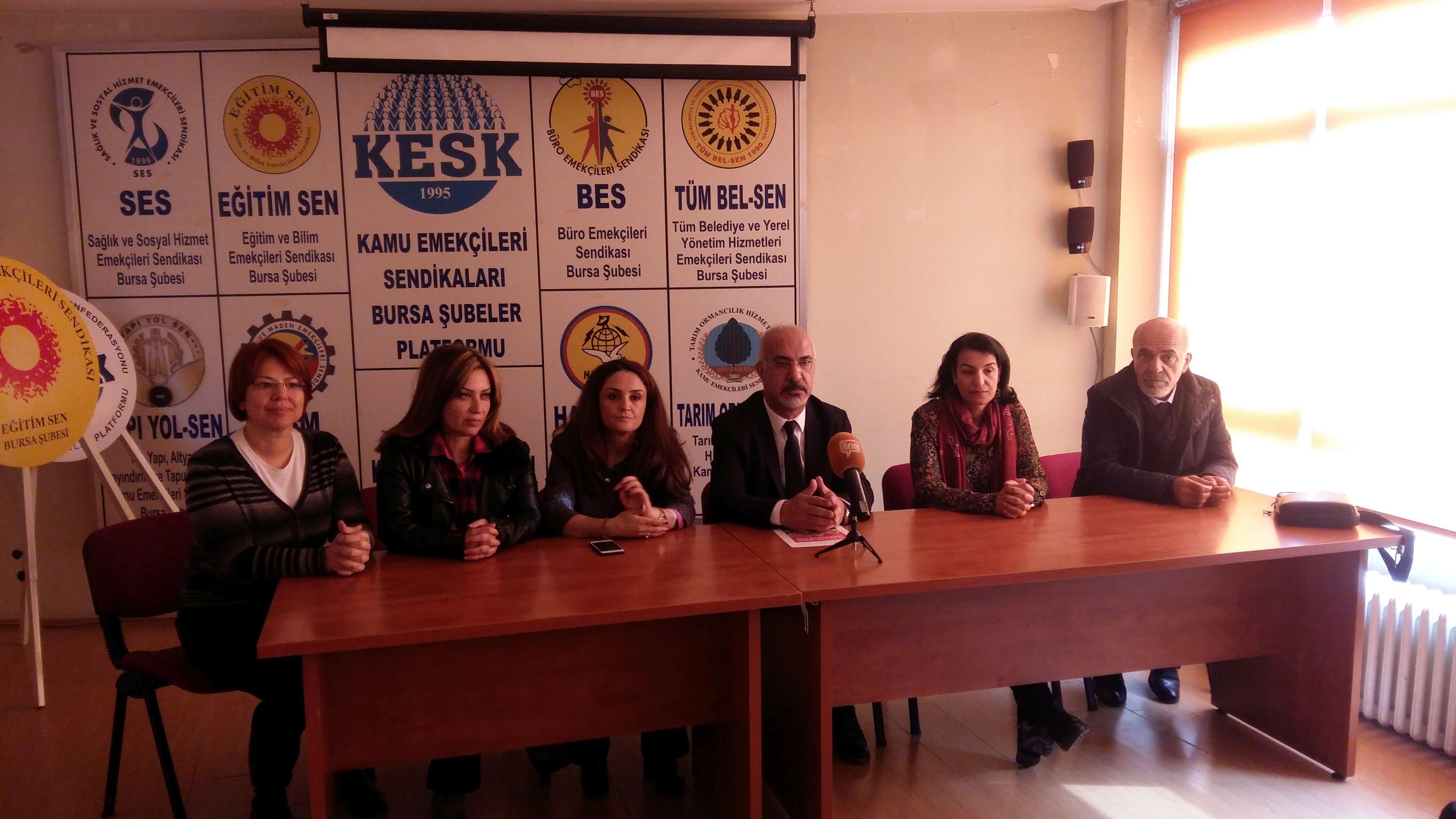 Bursa'da KESK üyeleri, İstanbul bölge mitingine çağrı yaptı