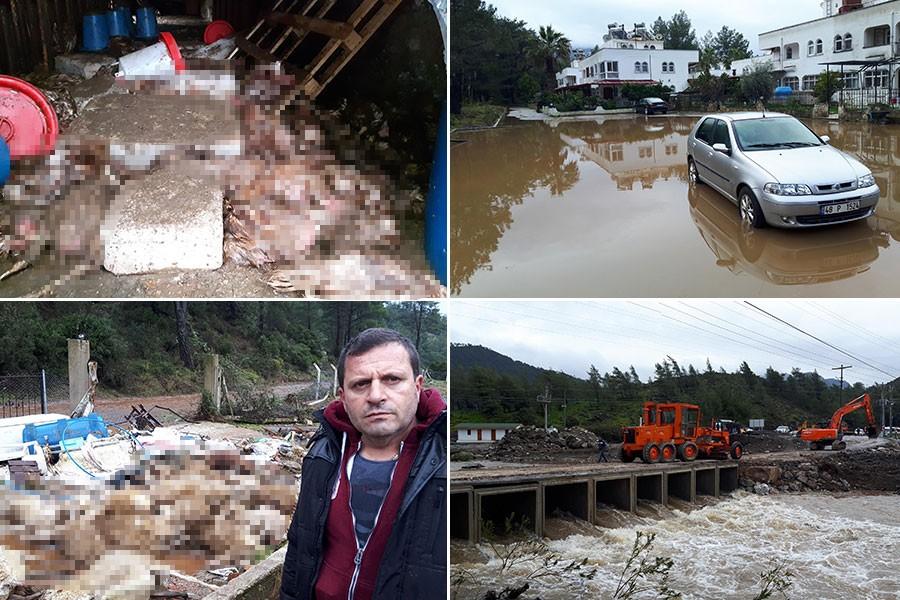Marmaris'te dere taştı, ev ve iş yerlerini su bastı