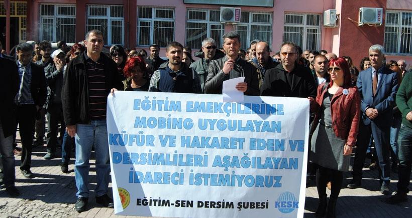Dersim'de eğitim emekçileri baskıları protesto etti
