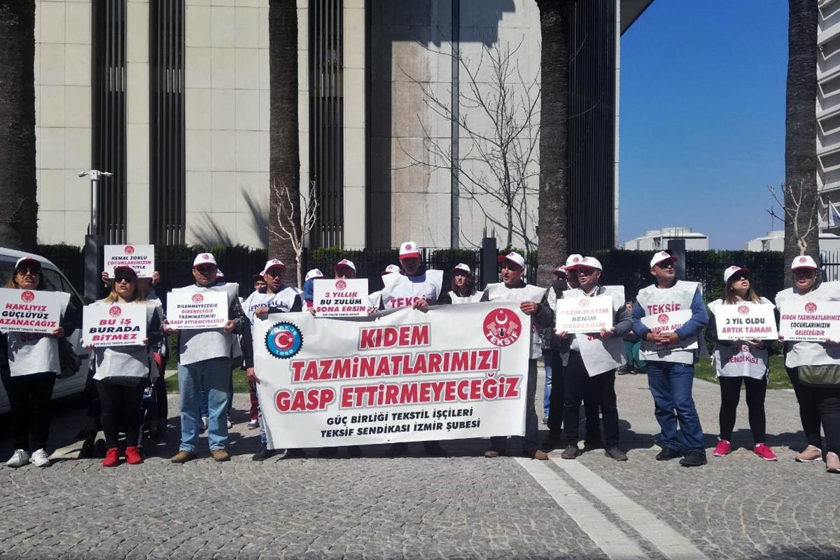 Güçbirliği Tekstil işçileri alacakları için eylemlerini sürdürüyor