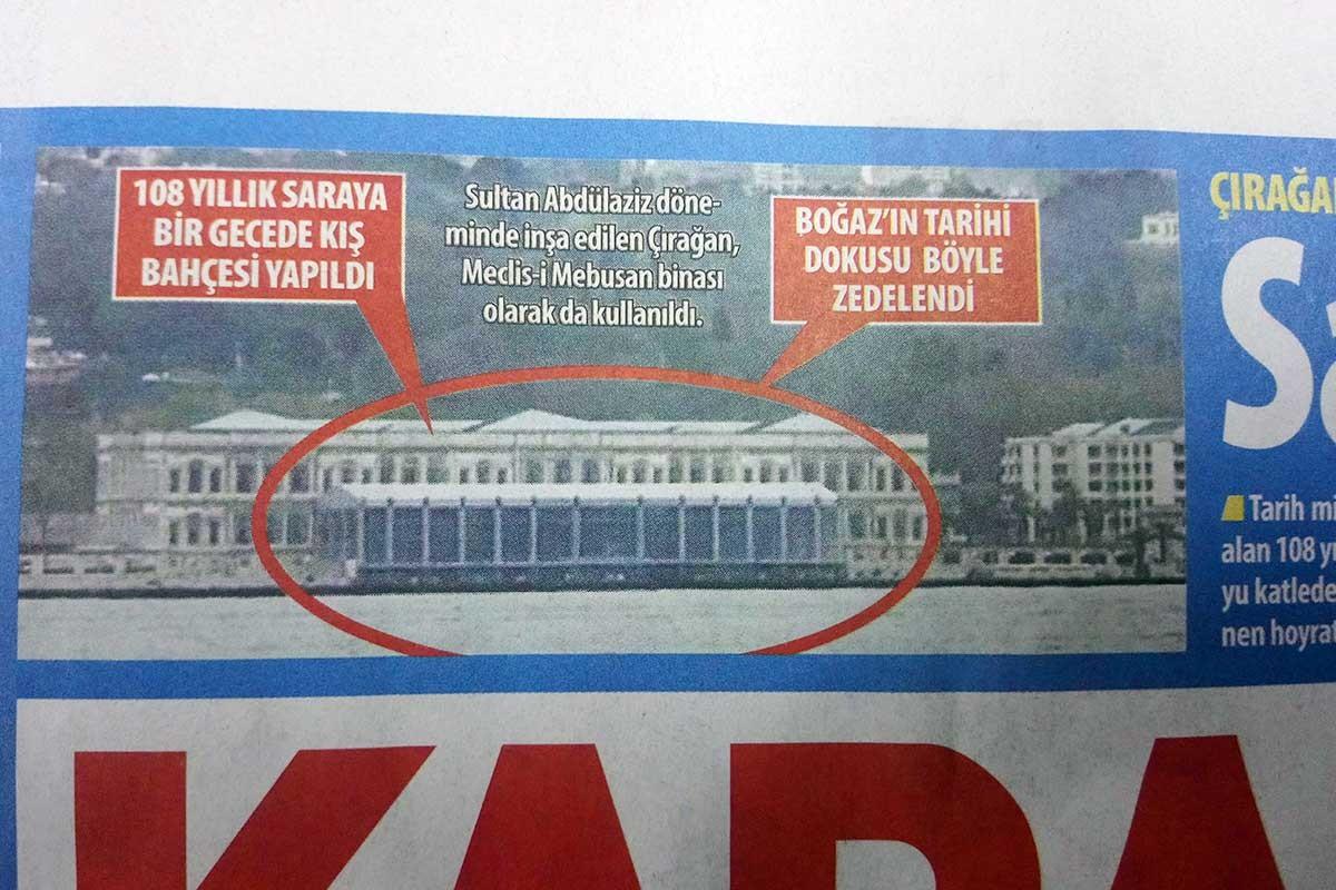 Çırağan Sarayı'nın bahçesine yapılan prefabrik yapı kaçak çıktı
