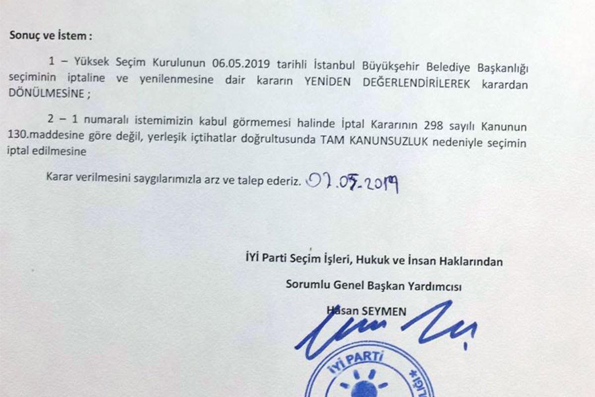 İYİ Parti YSK'nin iptal kararına itiraz etti, YSK reddetti