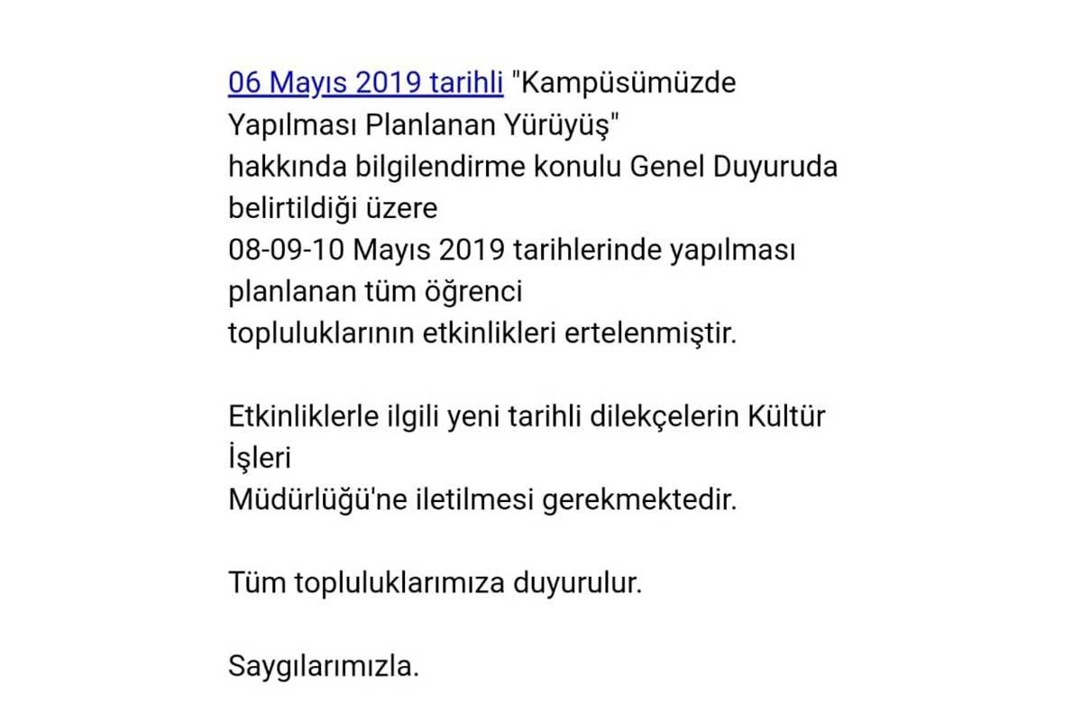 Onur Yürüyüşü'nü yasaklayan ODTÜ Rektörlüğü, tüm etkinlikleri erteledi