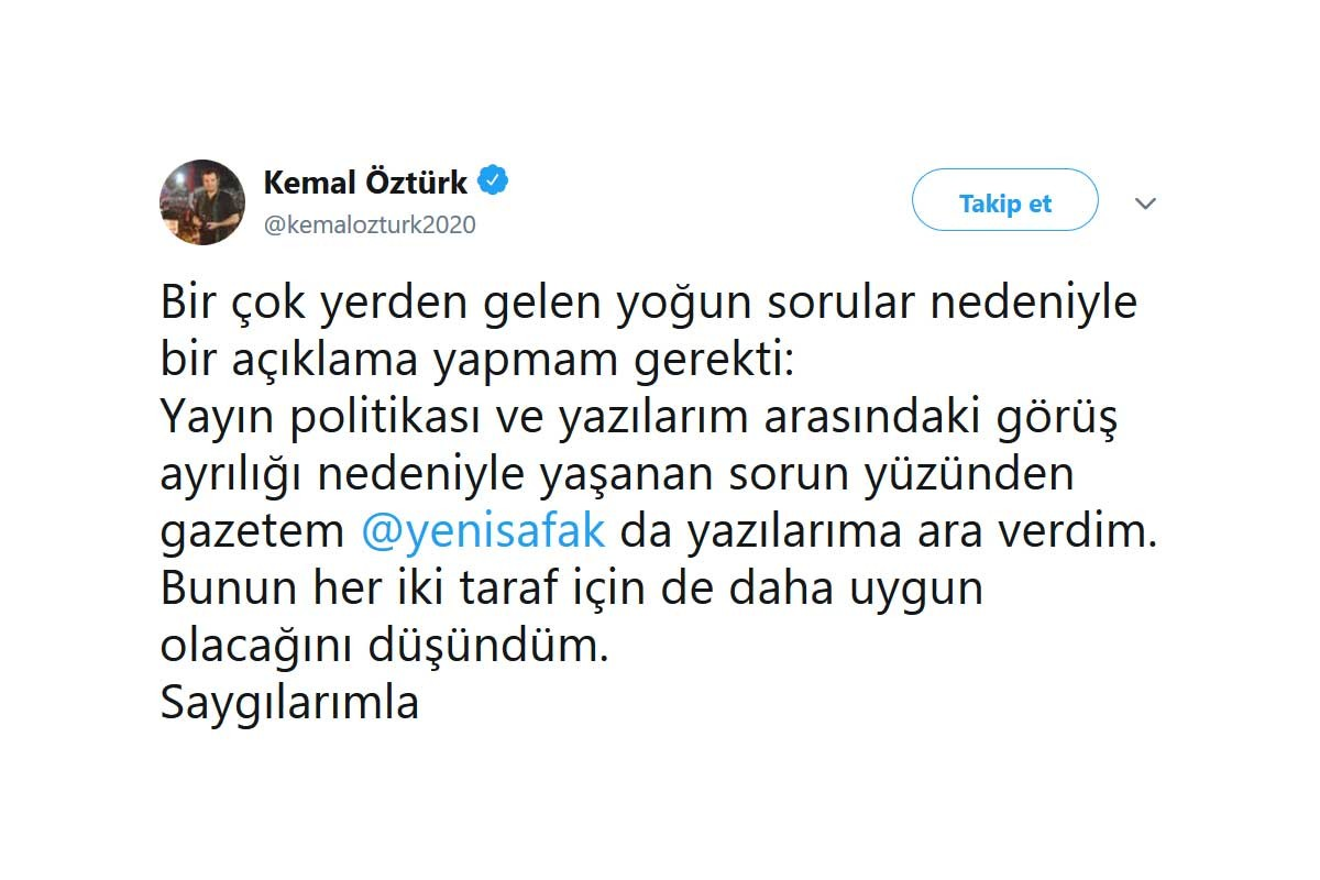 Yazısı basılmayan Kemal Öztürk, Yeni Şafak'taki köşesine ara verdi