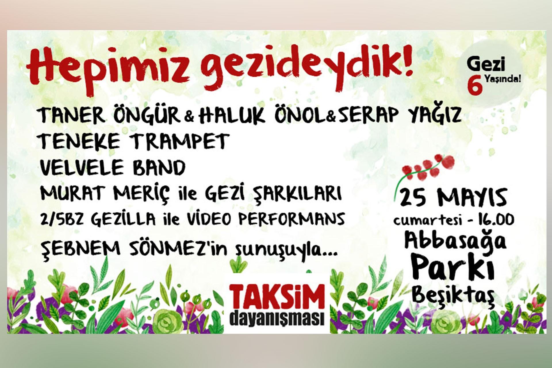 """Gezi'nin yıl dönümü öncesi Taksim Dayanışmasından """"Gezi konseri"""""""
