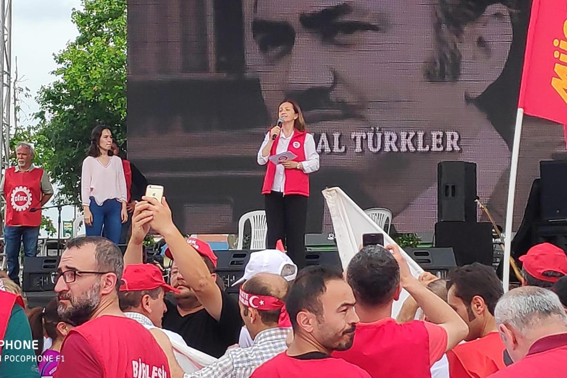 DİSK Genel Başkanı Arzu Çerkezoğlu Kartal mitinginde konuştu