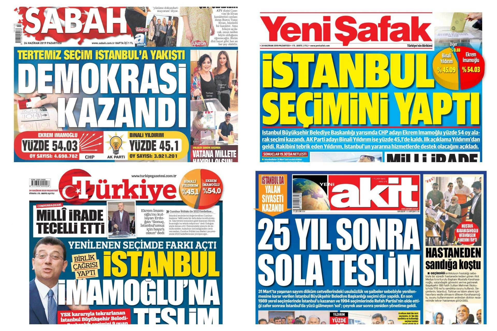 23 Haziran İstanbul seçiminin iktidar medyasındaki yansımaları
