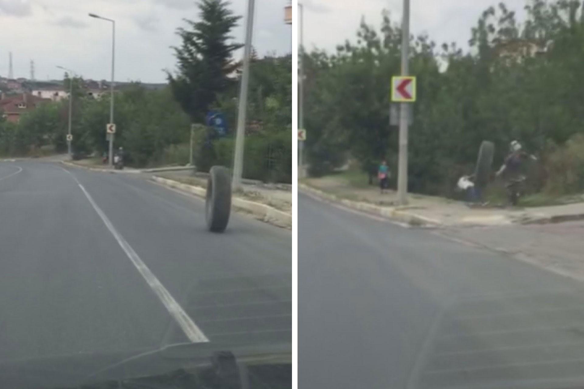 Arnavutköy'de fırlayan kamyon lastiği kaldırımdaki çocuğa çarptı