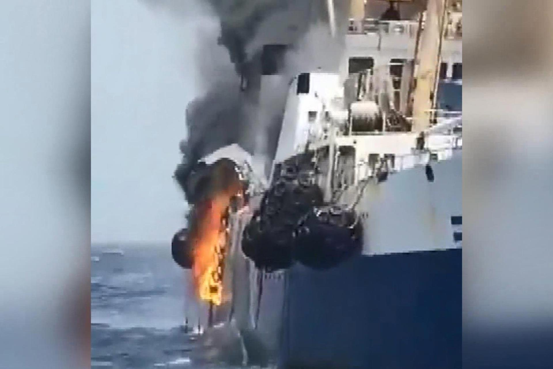 Ukrayna'ya ait gemide yangın çıktı, 1 denizci kayıp