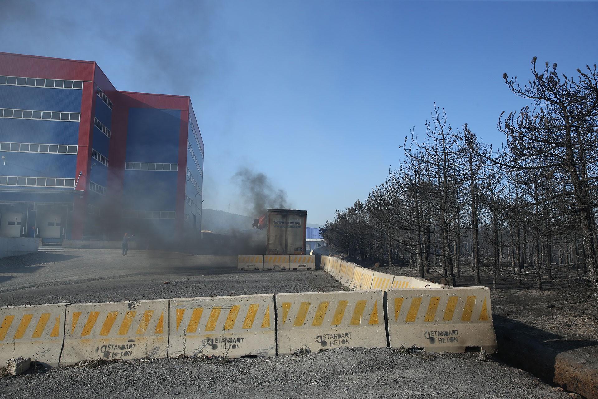Kocaeli'de fabrikalara sıçrayan orman yangını söndürüldü