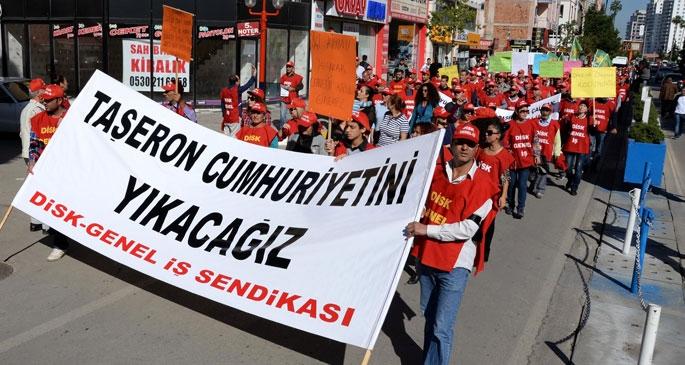 Mersin'de işçiler taşerona karşı yürüdü