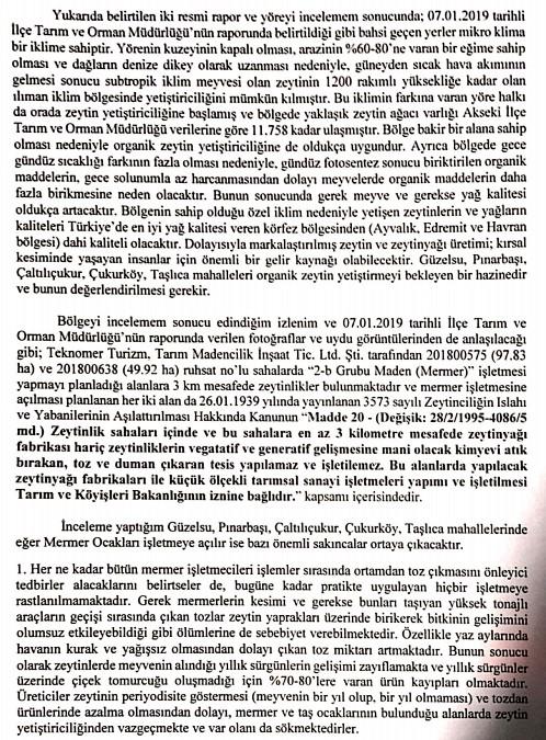 Akdeniz Üniversitesi Ziraat Fakültesinin hazırladığı rapordan bir bölüm