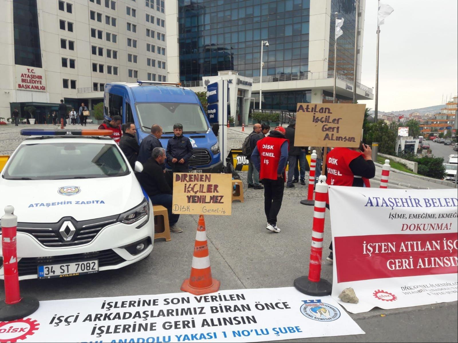 Ataşehir Belediyesi önünde işten atmalara karşı direniş sürüyor