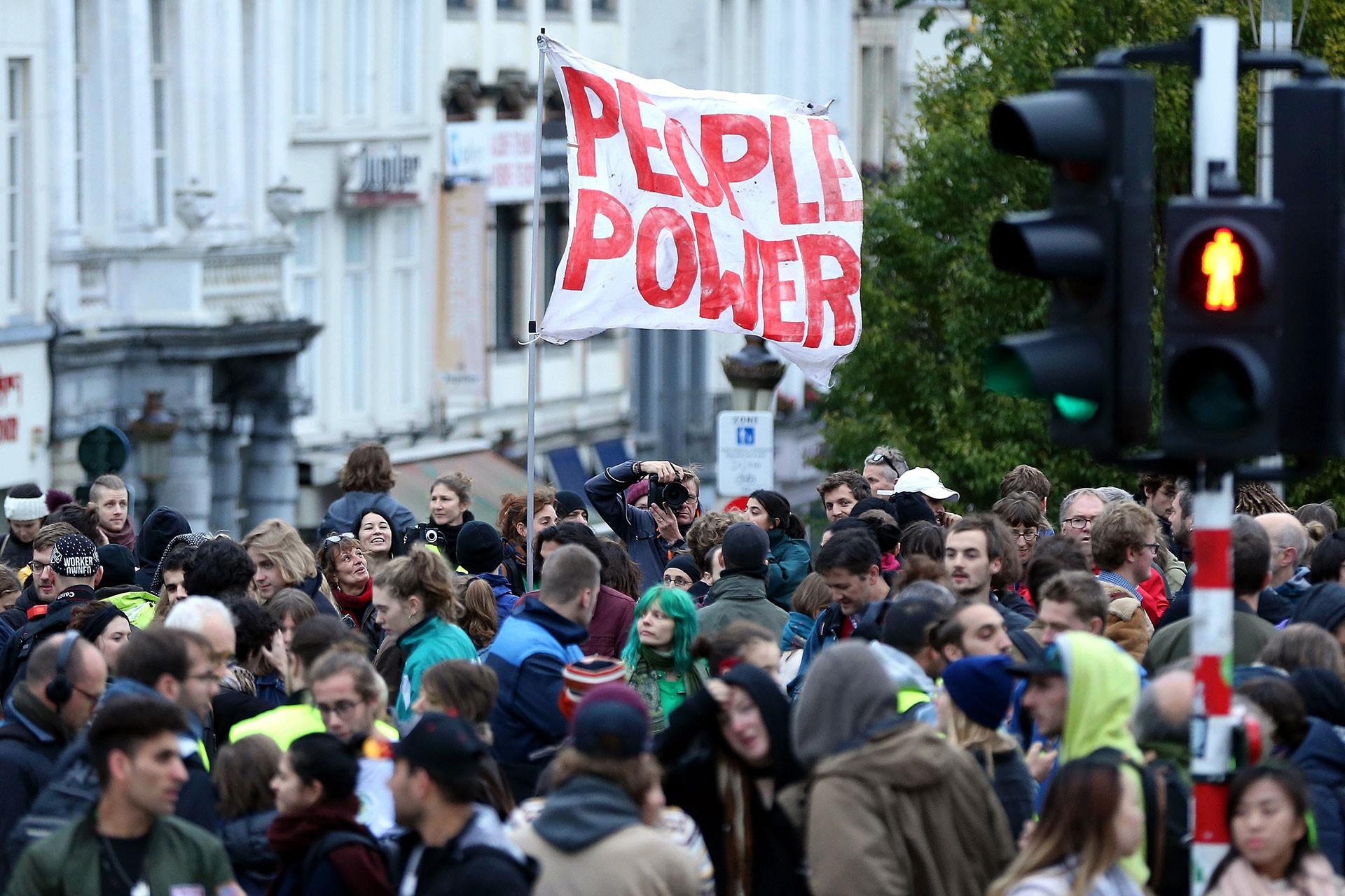 Belçika'da polis şiddeti protestosu