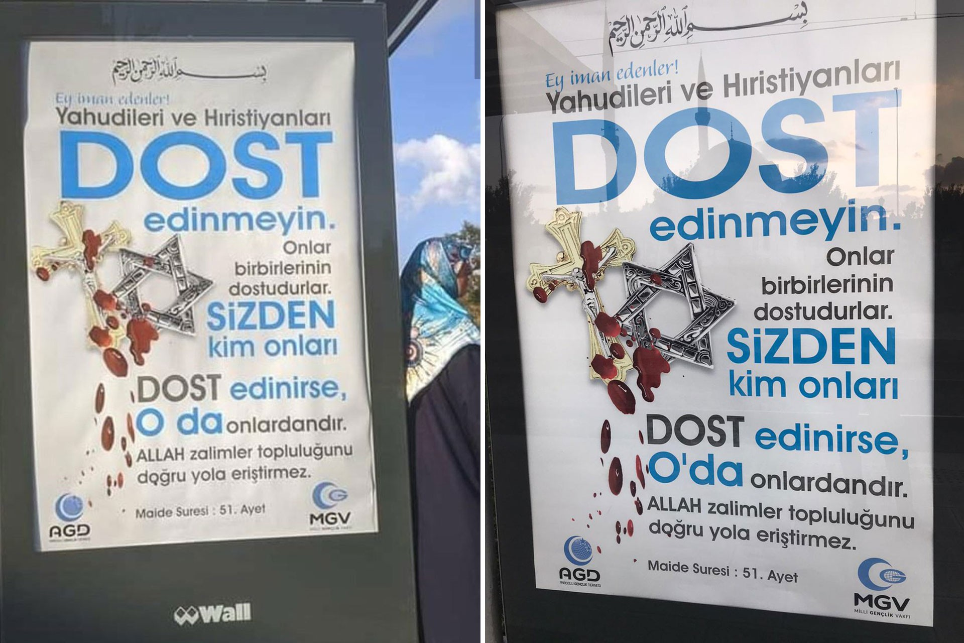 'Yahudileri ve Hristiyanları dost edinmeyin' afişleri kaldırıldı, Türk bayrağı asıldı