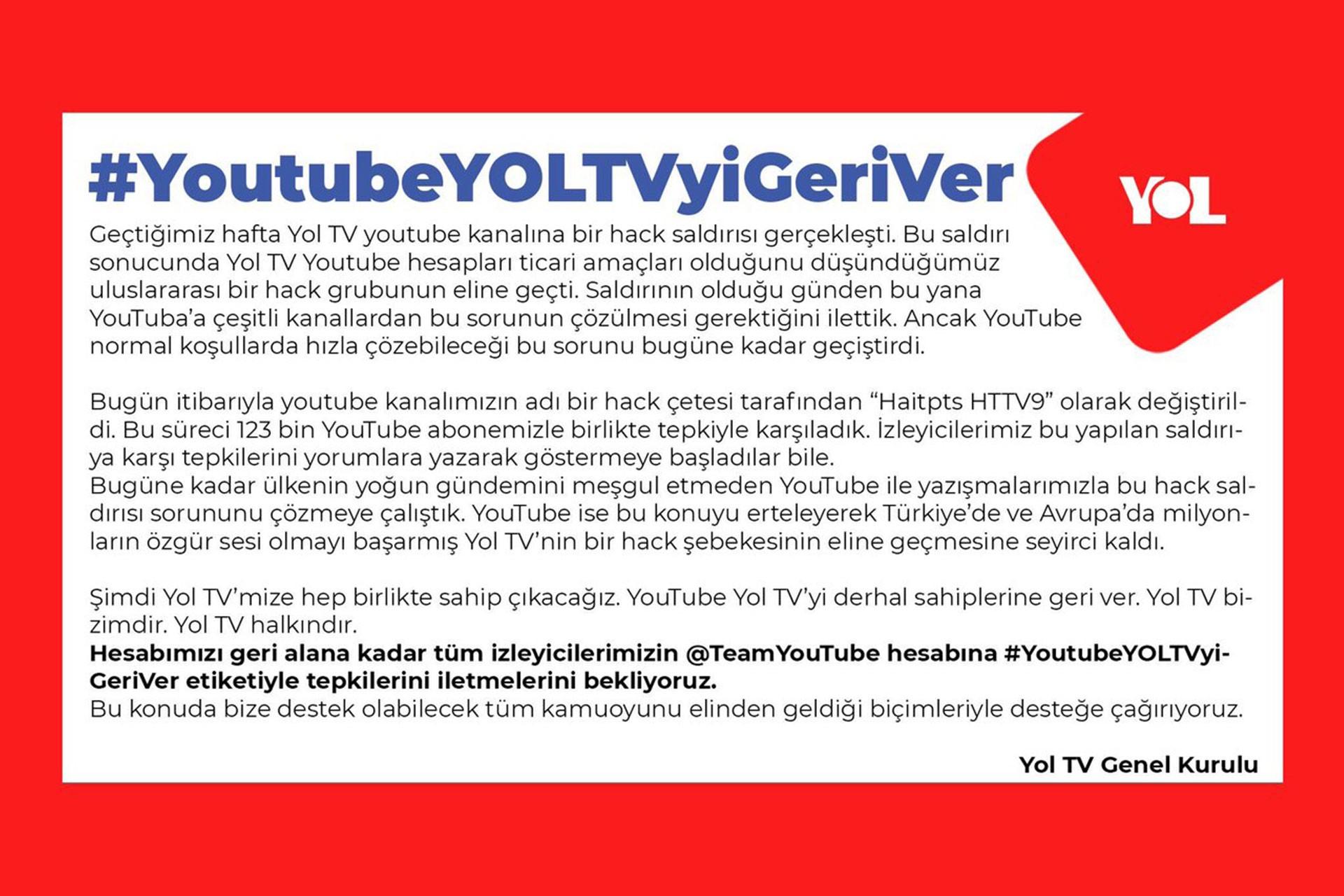 Sosyal medyada #YoutubeYOLTVyiGeriVer kampanyası