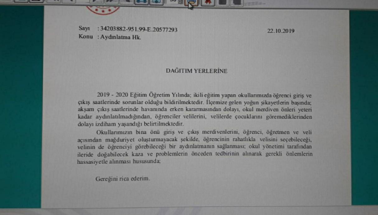 Sincan İlçe Milli Eğitim Müdürlüğünden okullara gönderilen yazı