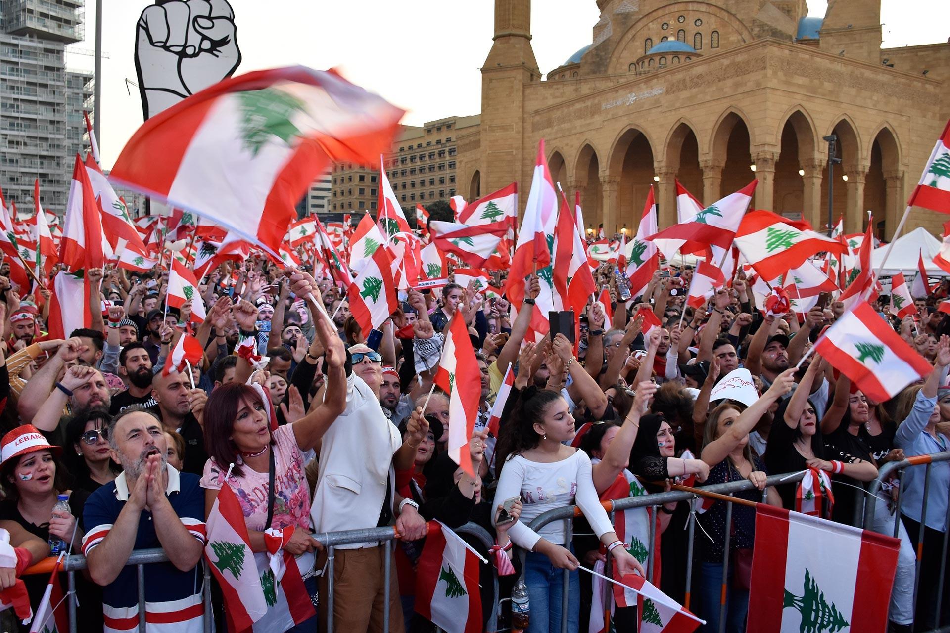 Protesters in Lebanon.