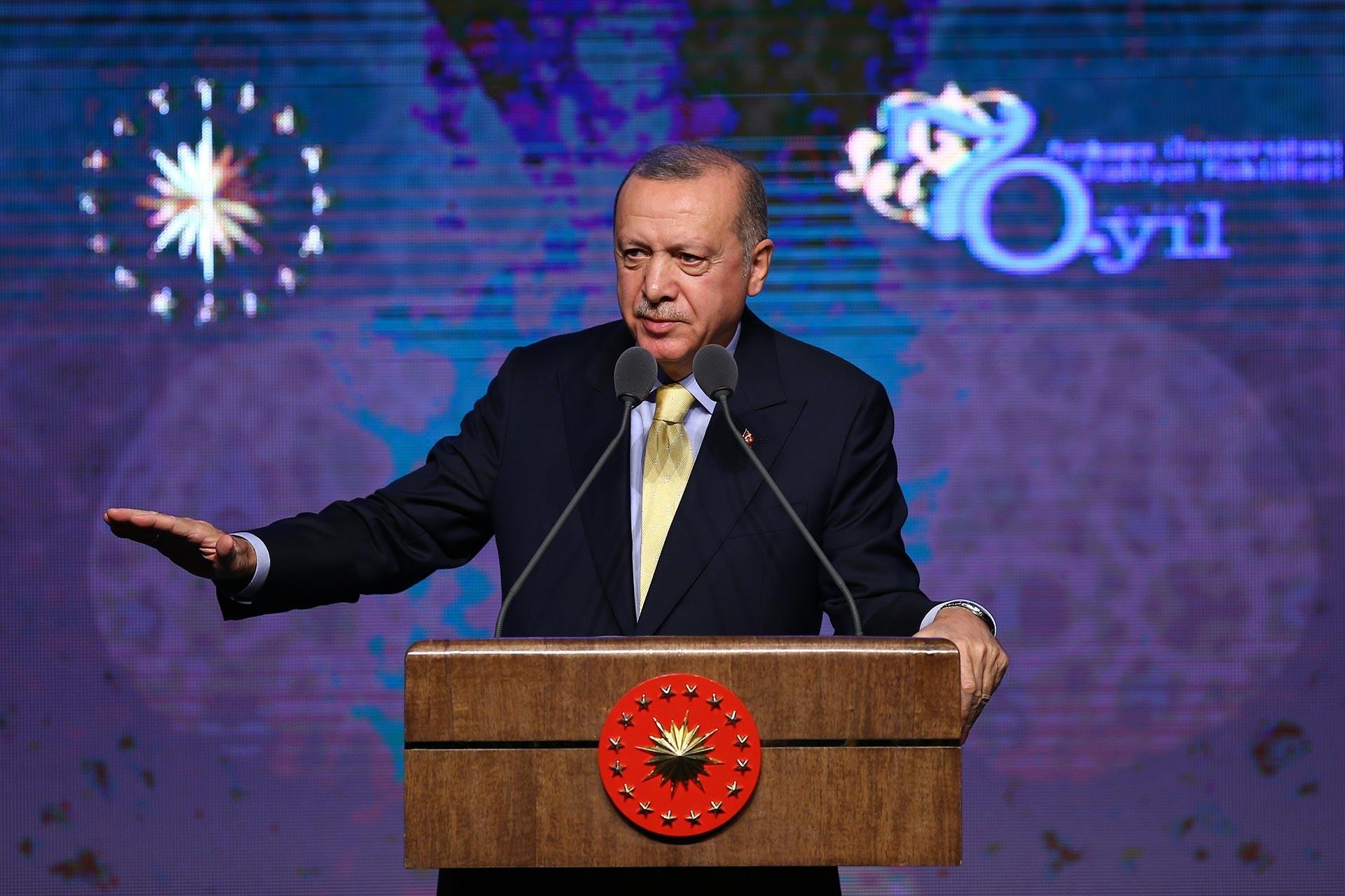 President Tayyip Erdoğan addressing to Ankara University Faculty of Theology's Seventieth Anniversary Celebration Ceremony