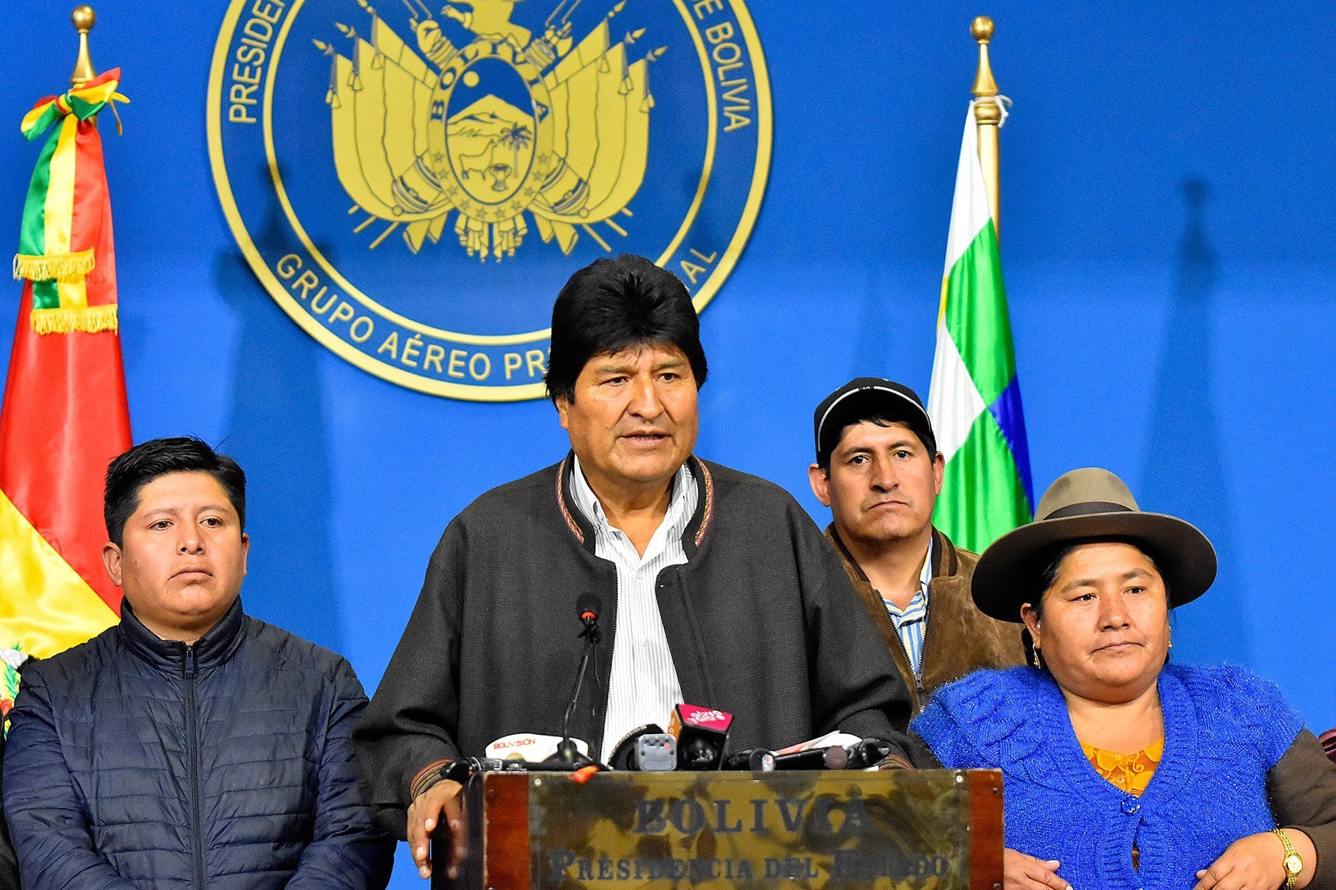 The Bolivian president, Evo Morales, gives a speech at the presidential hangar in El Alto.