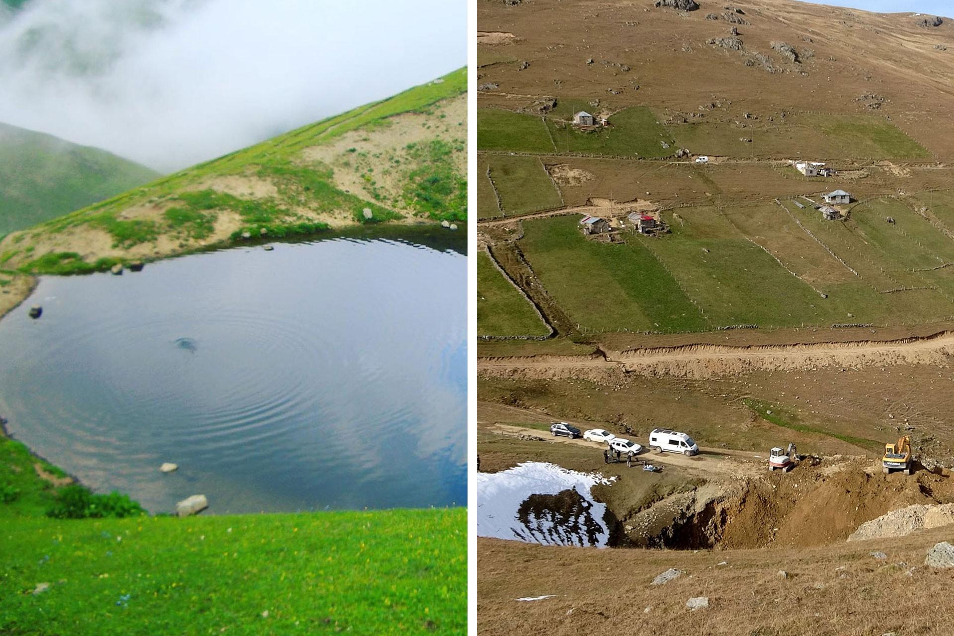 Dipsiz Göl'ün kazı yapılmadan önceki hali (solda) ve sonraki hali (sağda)