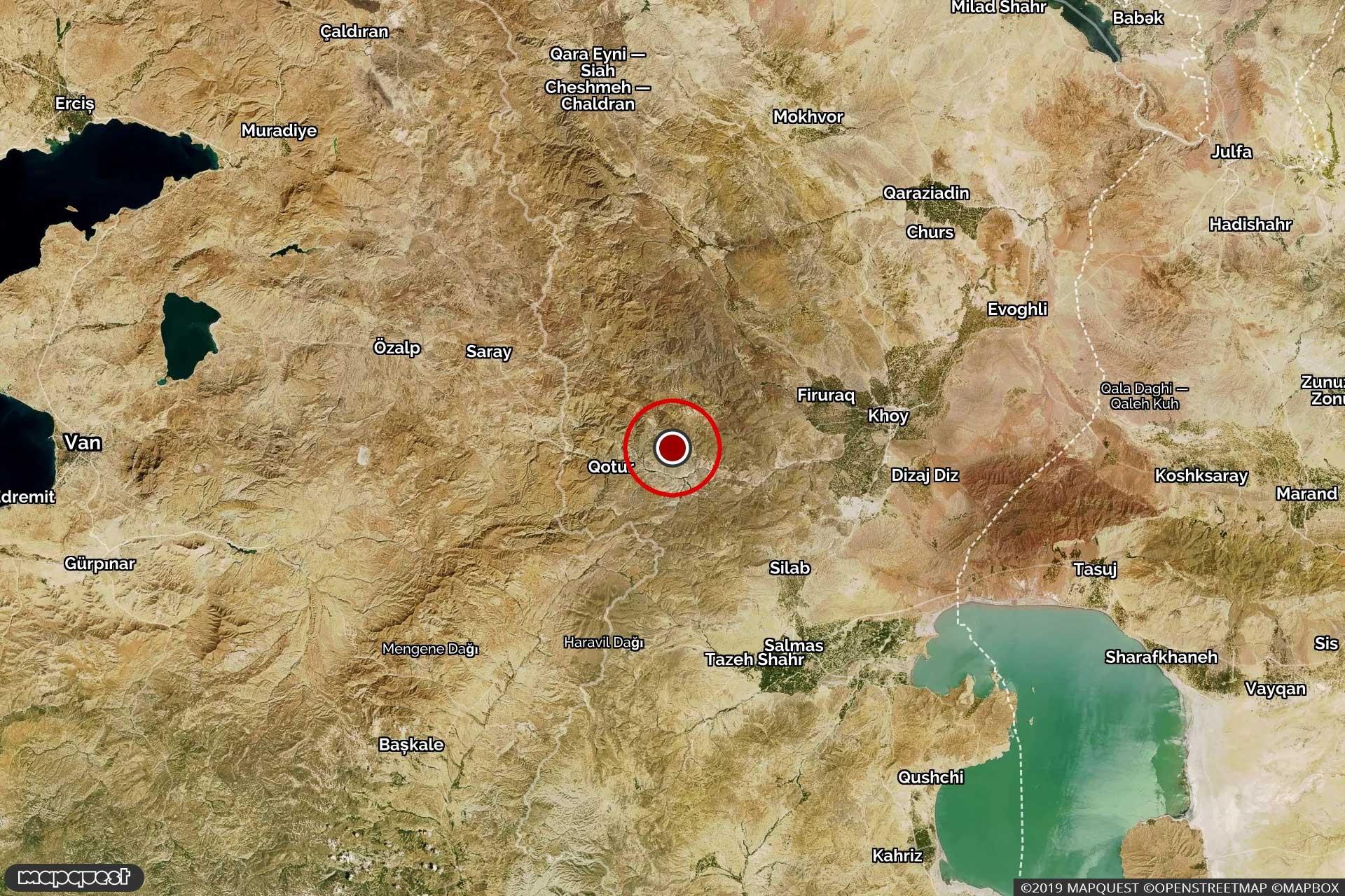İran ve Türkiye sınırında yer alan İran Khoy'da meydana gelen depremin harita üzerinde gösterimi.