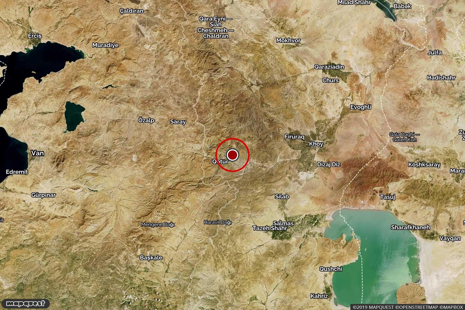 İran Khoy'da meydana gelen depremi gösteren harita.