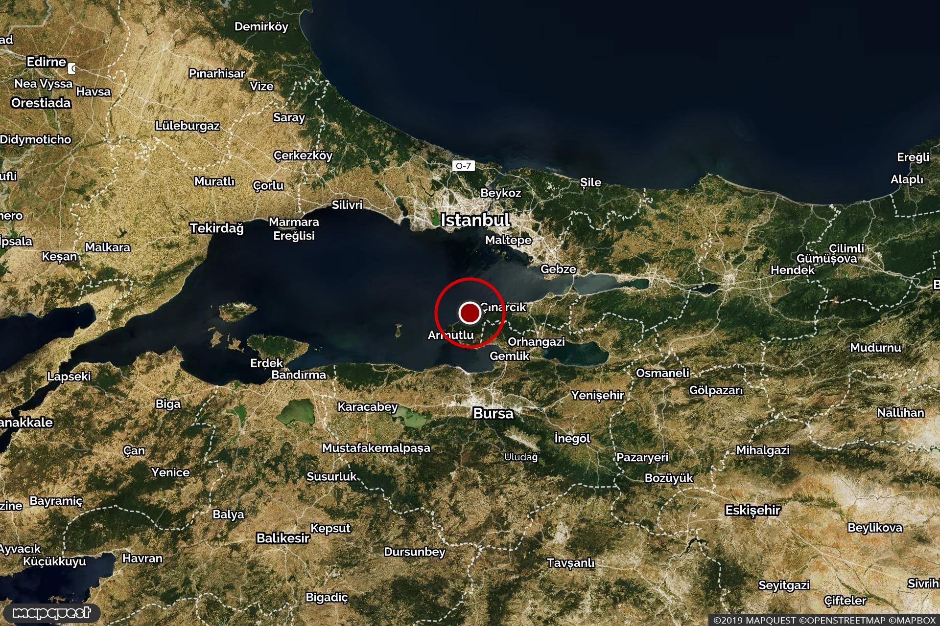 Marmara Denizi'nde depremin gerçekleştiği bölgeyi gösteren harita