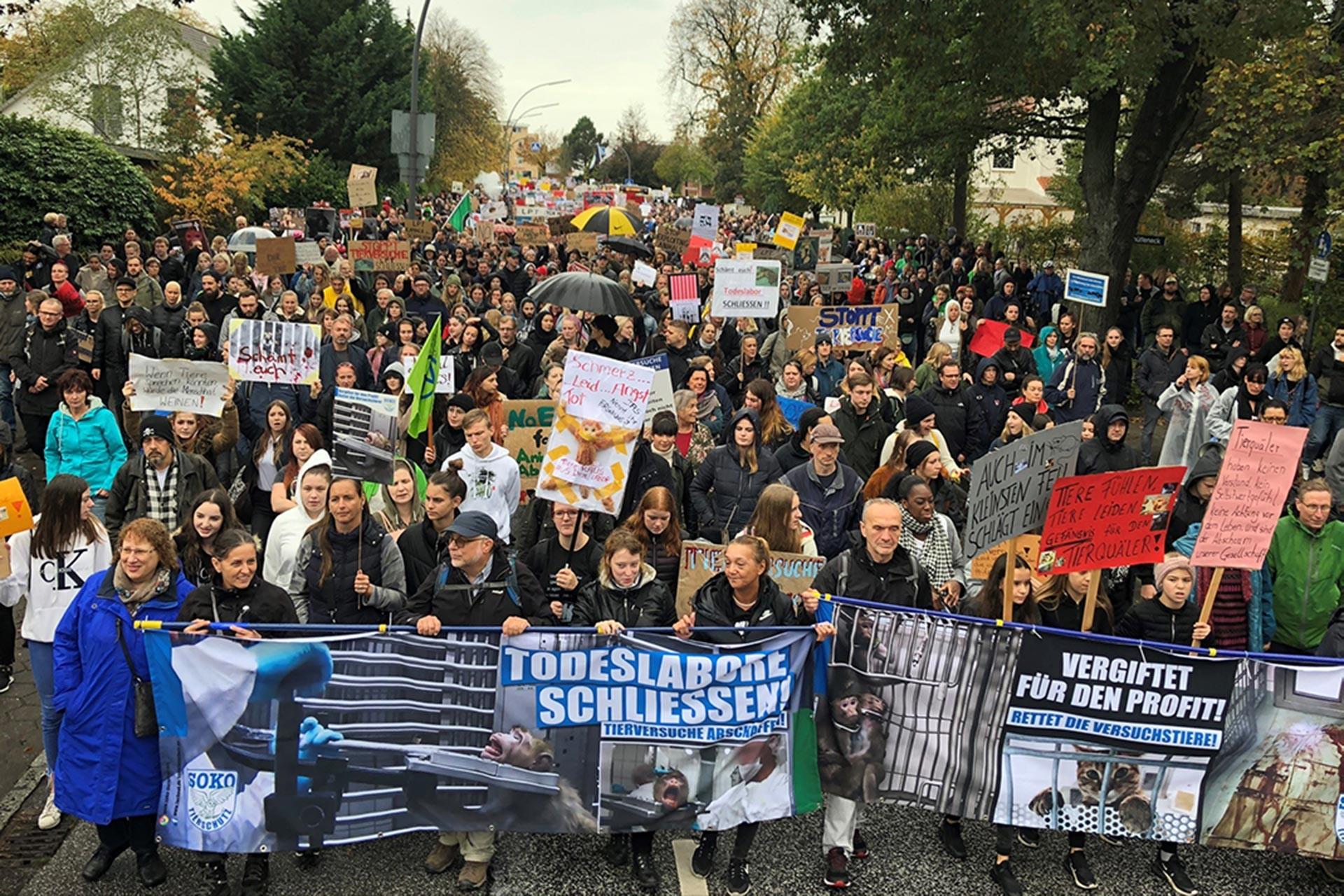 Hamburg'daki hayvan hakları mitingine katılanlar, ellerinde 'Ölüm laboratuvarı kapatılsın!' ve 'Kâr için zehirlendi!' yazılı pankartlarla yürürken
